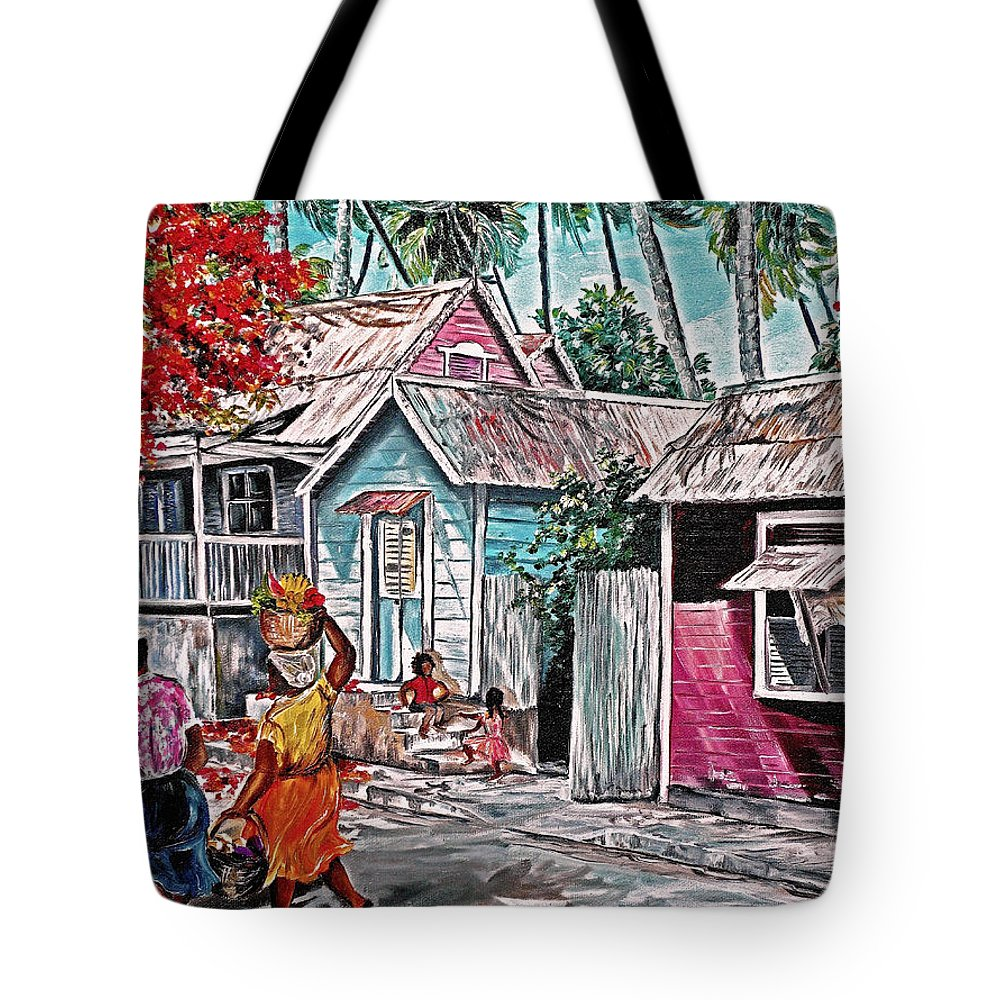 Market Women Painting Barbados Painting Islands Painting  Poinciana Painting Houses Painting Poinciana Painting Caribbean Painting Tropical Painting Tote Bag featuring the painting Marketday Barbados by Karin Dawn Kelshall- Best