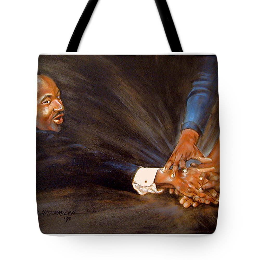 Martin Luther King Tote Bag featuring the painting Martin Luther King by John Lautermilch