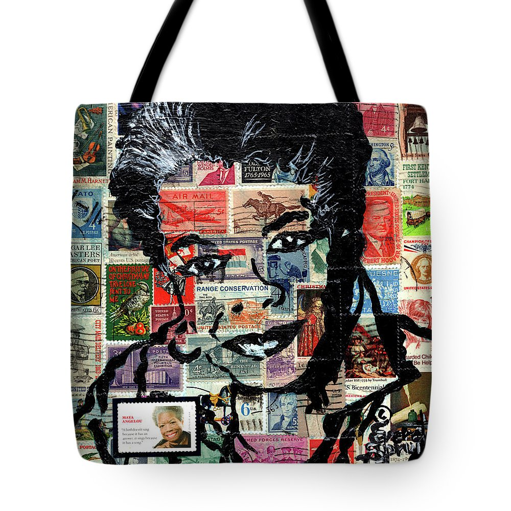 African Mask Tote Bag featuring the mixed media Maya Angelou by Everett Spruill