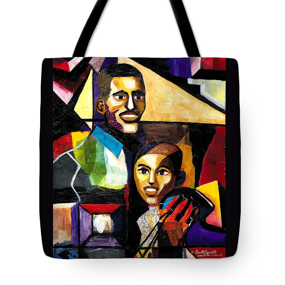 Everett Spruill Tote Bag featuring the painting Me and Dad by Everett Spruill