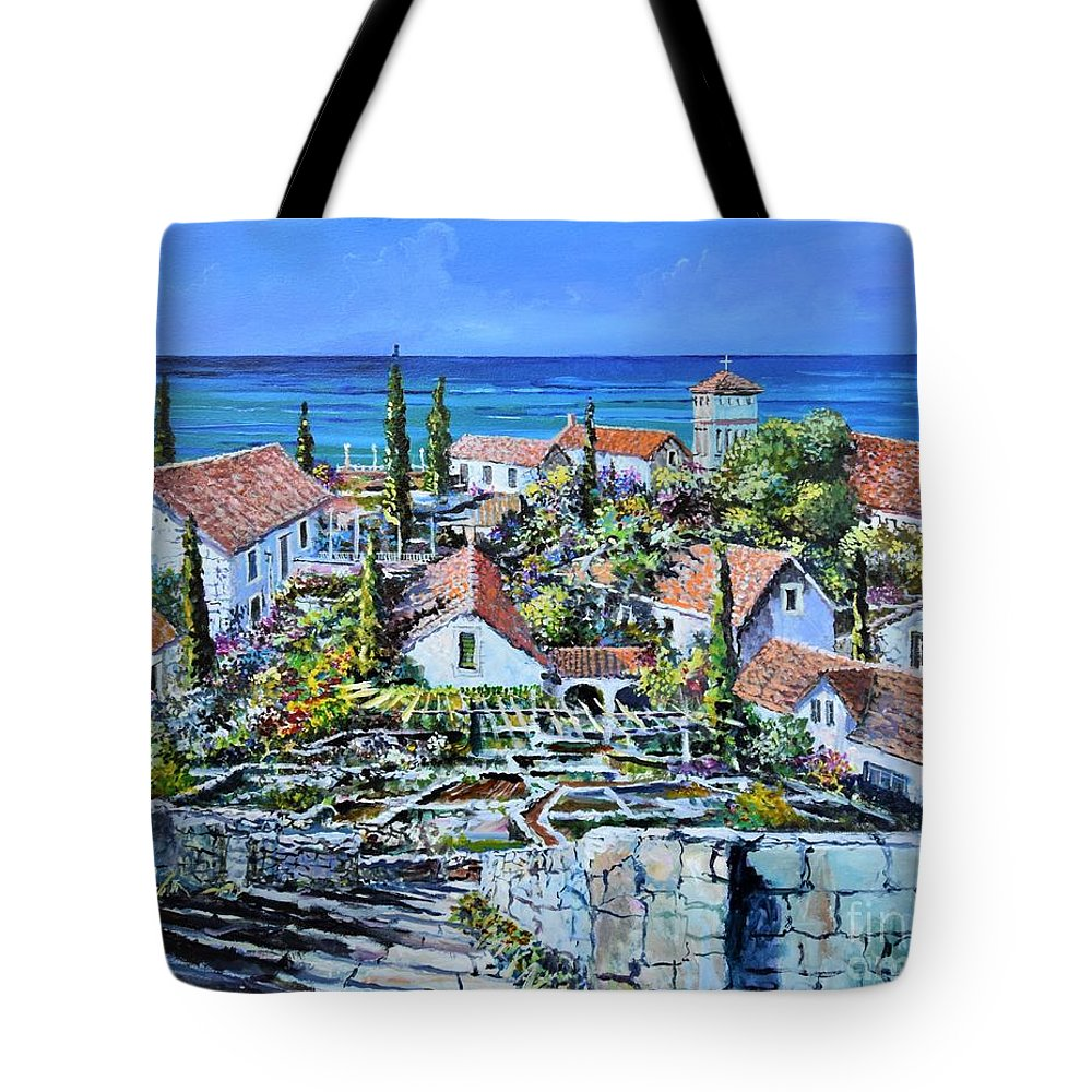 Original Painting Tote Bag featuring the painting Mediterraneo by Sinisa Saratlic