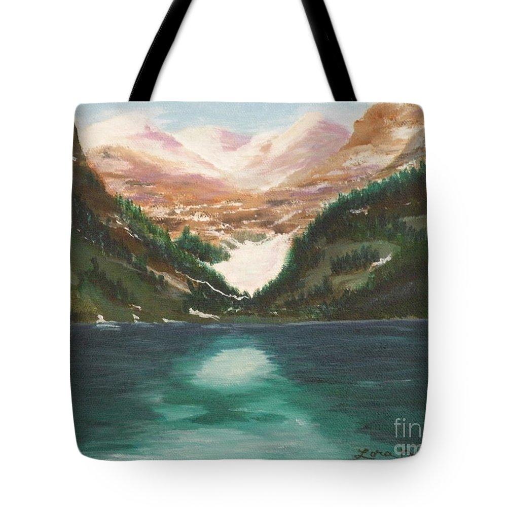 Mendenhall Glacier Tote Bag featuring the painting Mendenhall Glacier Alaska by Lora Duguay