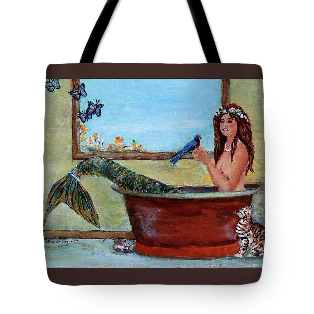 Mermaid Tote Bag featuring the painting Mermaid in Bathtub Spring Mermaid Painting by Linda Queally by Linda Queally