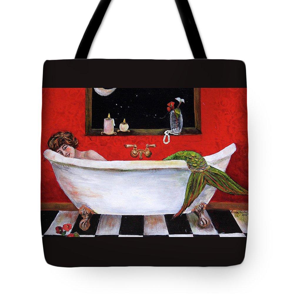 Mermaid Tote Bag featuring the painting Mermaid in Bathtub Taking a Moonlight Soak by Linda Queally by Linda Queally