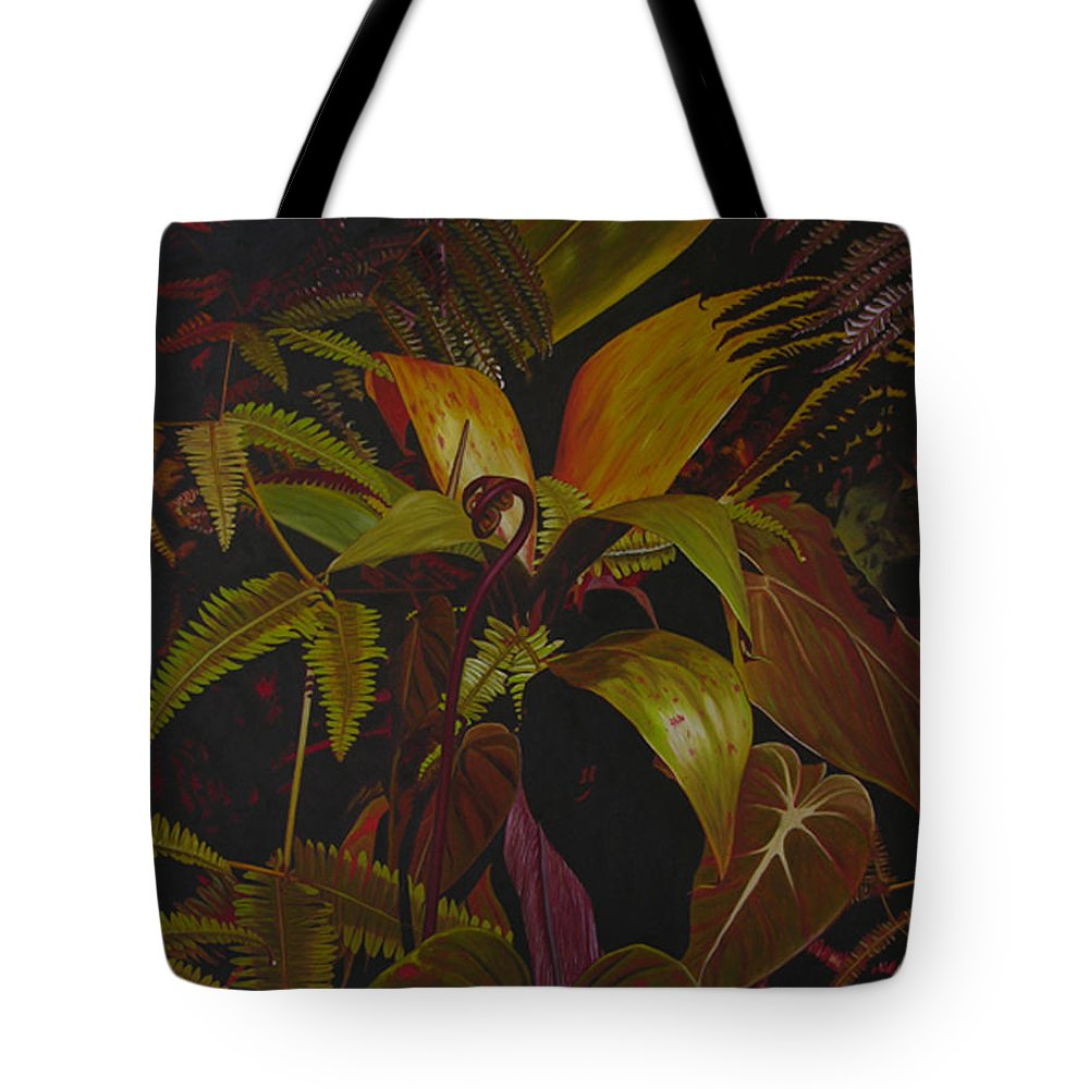 Plant Tote Bag featuring the painting Midnight in the garden by Thu Nguyen