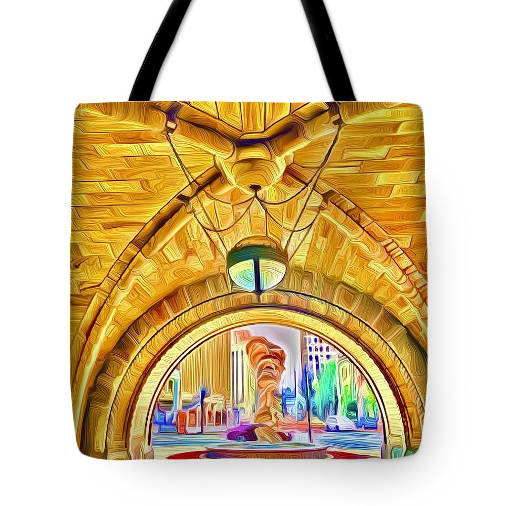 Landscape Tote Bag featuring the digital art Milwaukee City Hall by Michael Stothard