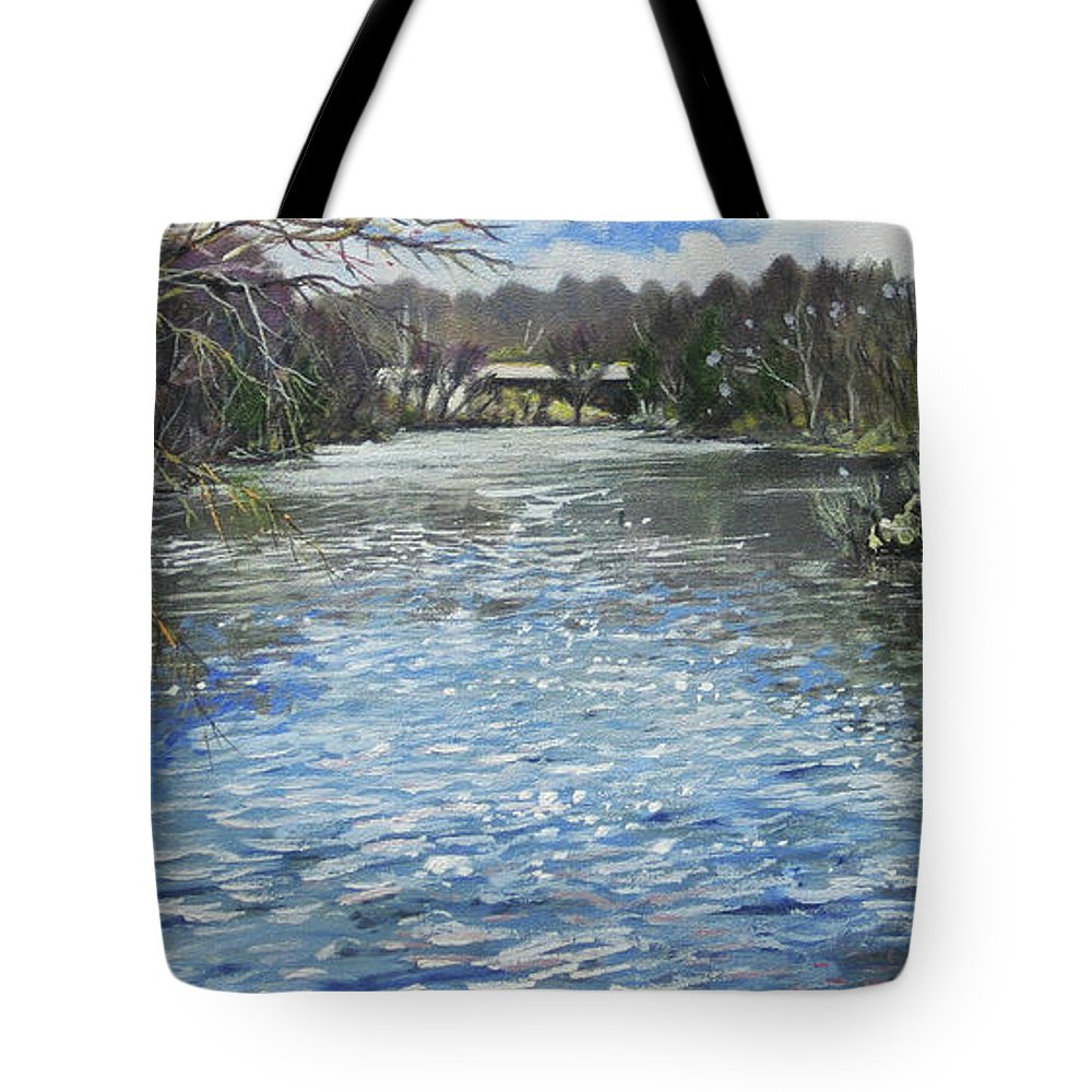 Tote Bag featuring the painting Milwaukee River Rapids Original Oil 30x15 by Doug Jerving