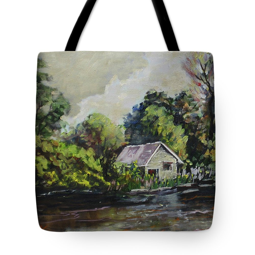 Tote Bag featuring the painting Milwaukee River 2 Original Oil 16x12 by Doug Jerving