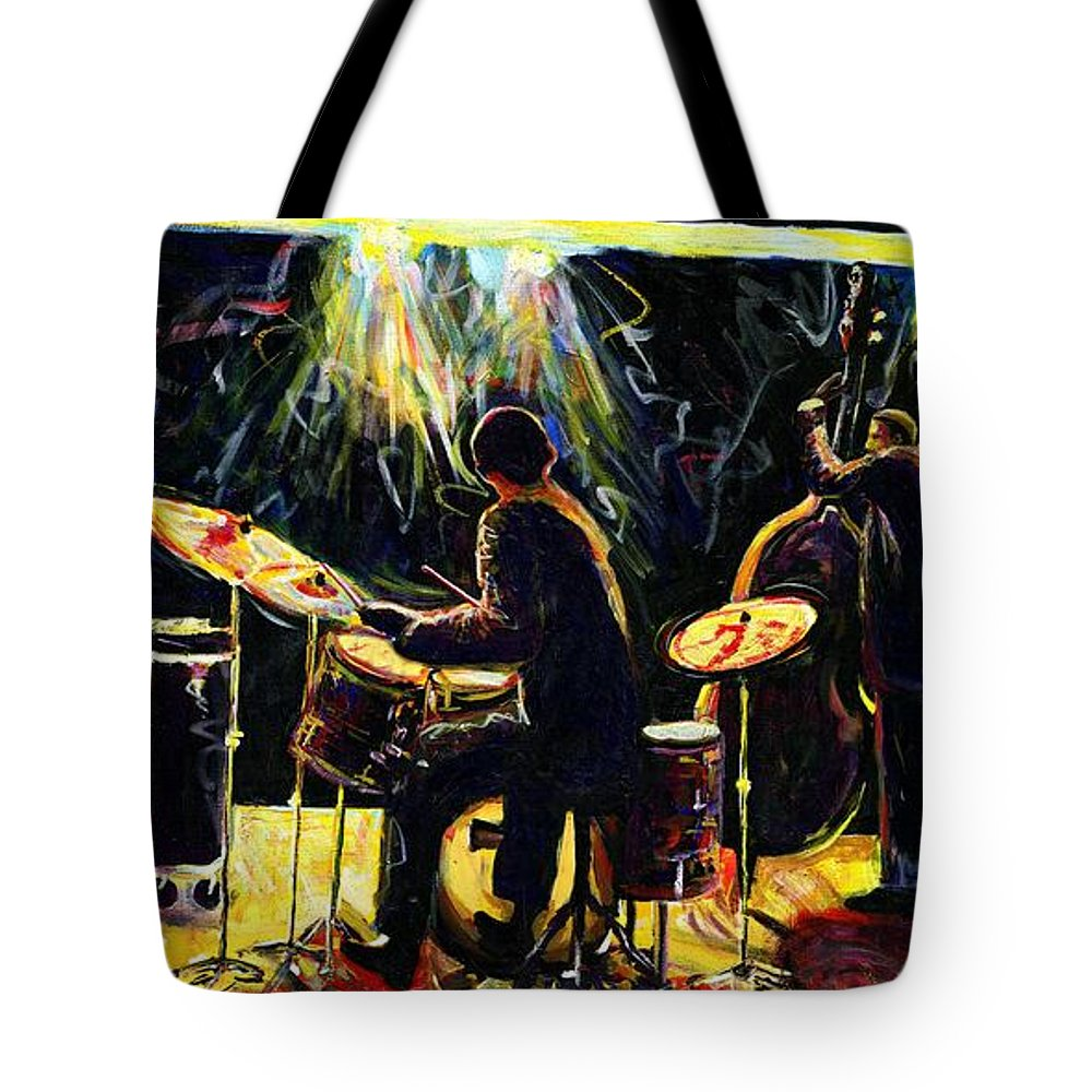 Everett Spruill Tote Bag featuring the painting Modern Jazz Quartet take2 by Everett Spruill