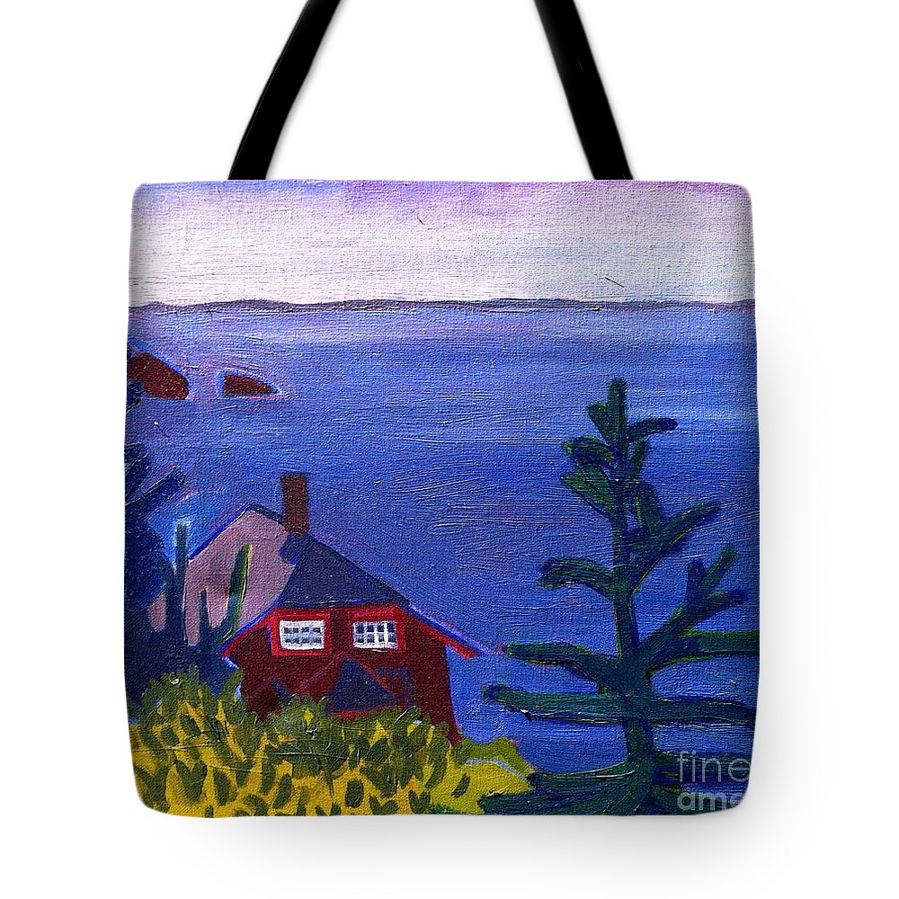 Beach Tote Bag featuring the painting Monhegan Late Afternoon by Debra Bretton Robinson