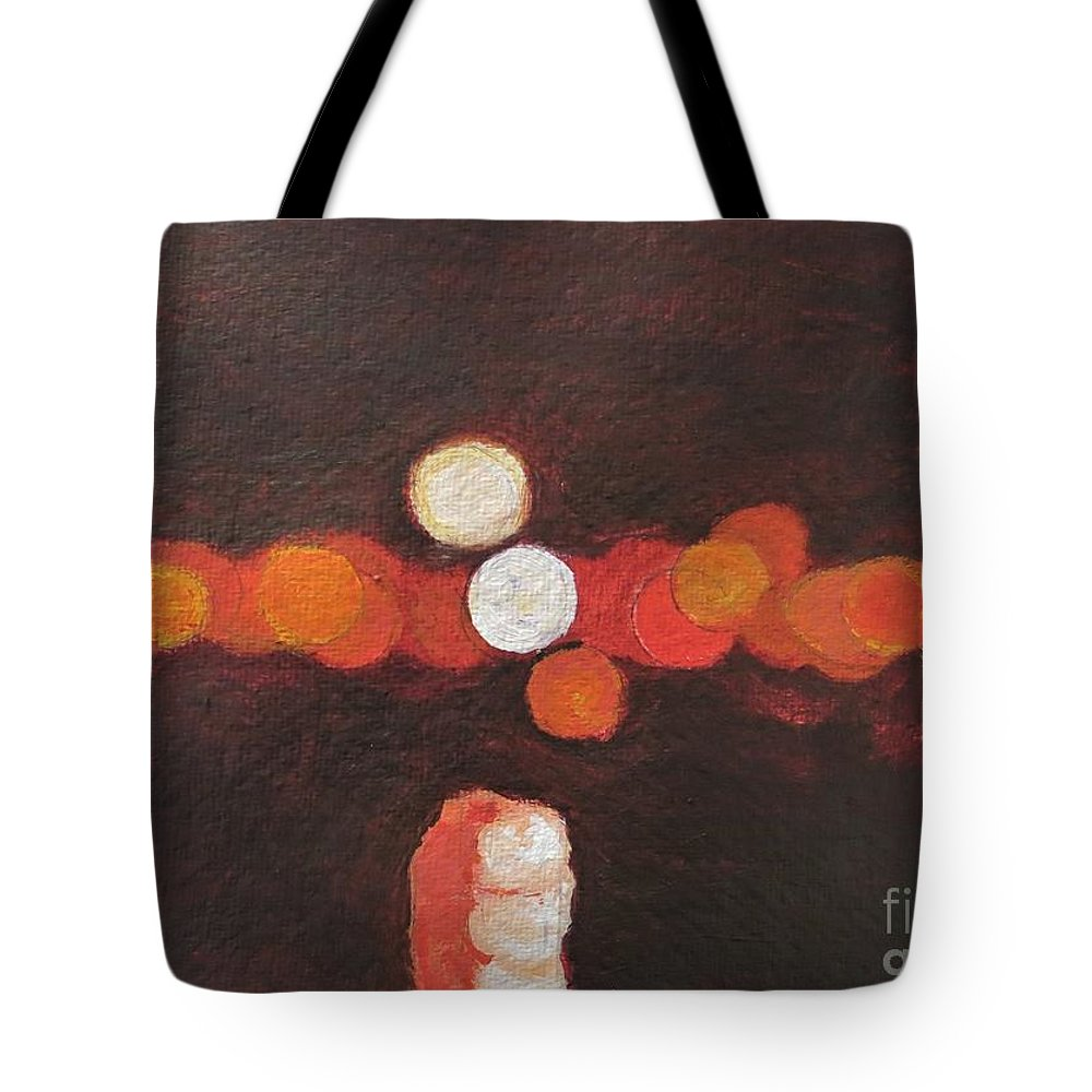 Abstract Tote Bag featuring the painting Moon over Portimao by Caroline Cunningham