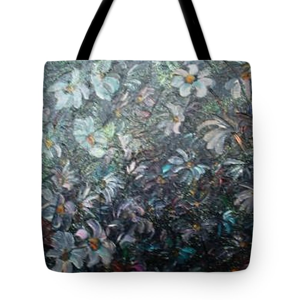 Floral Daisies Abstract Tote Bag featuring the painting Moonlight And Daisies.. by Karin Dawn Kelshall- Best