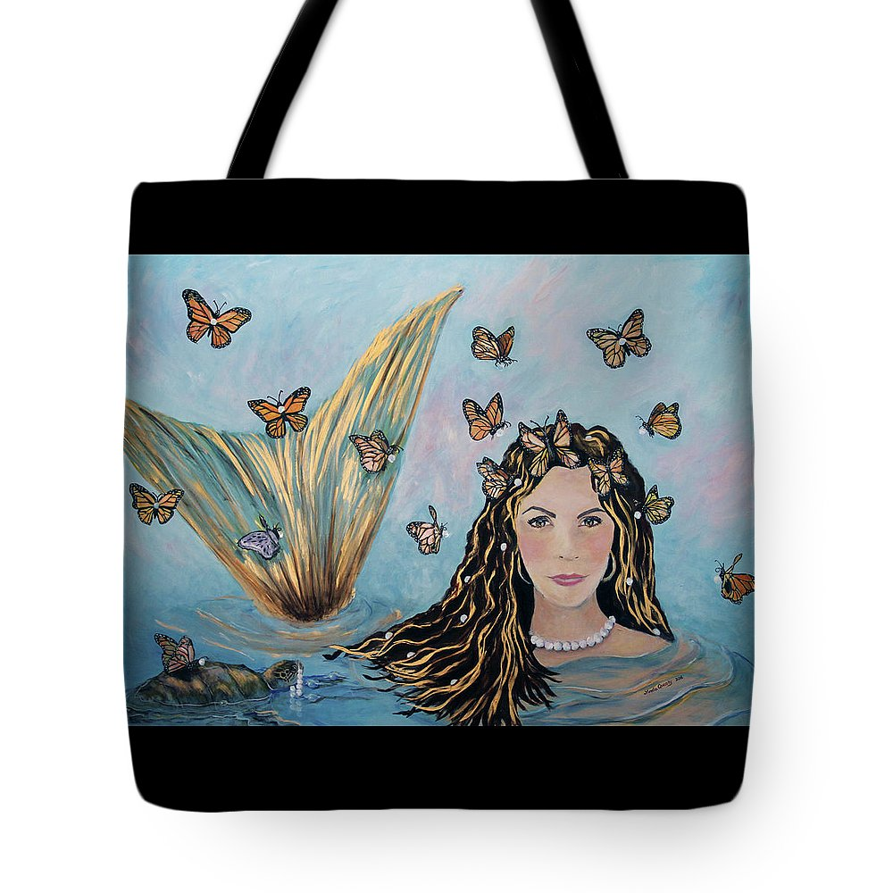 Mermaid Tote Bag featuring the painting More Precious Than Gold by Linda Queally