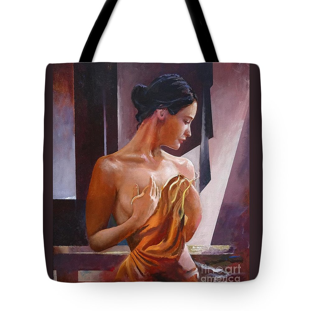 Female Figure Tote Bag featuring the painting Morning Beauty by Sinisa Saratlic