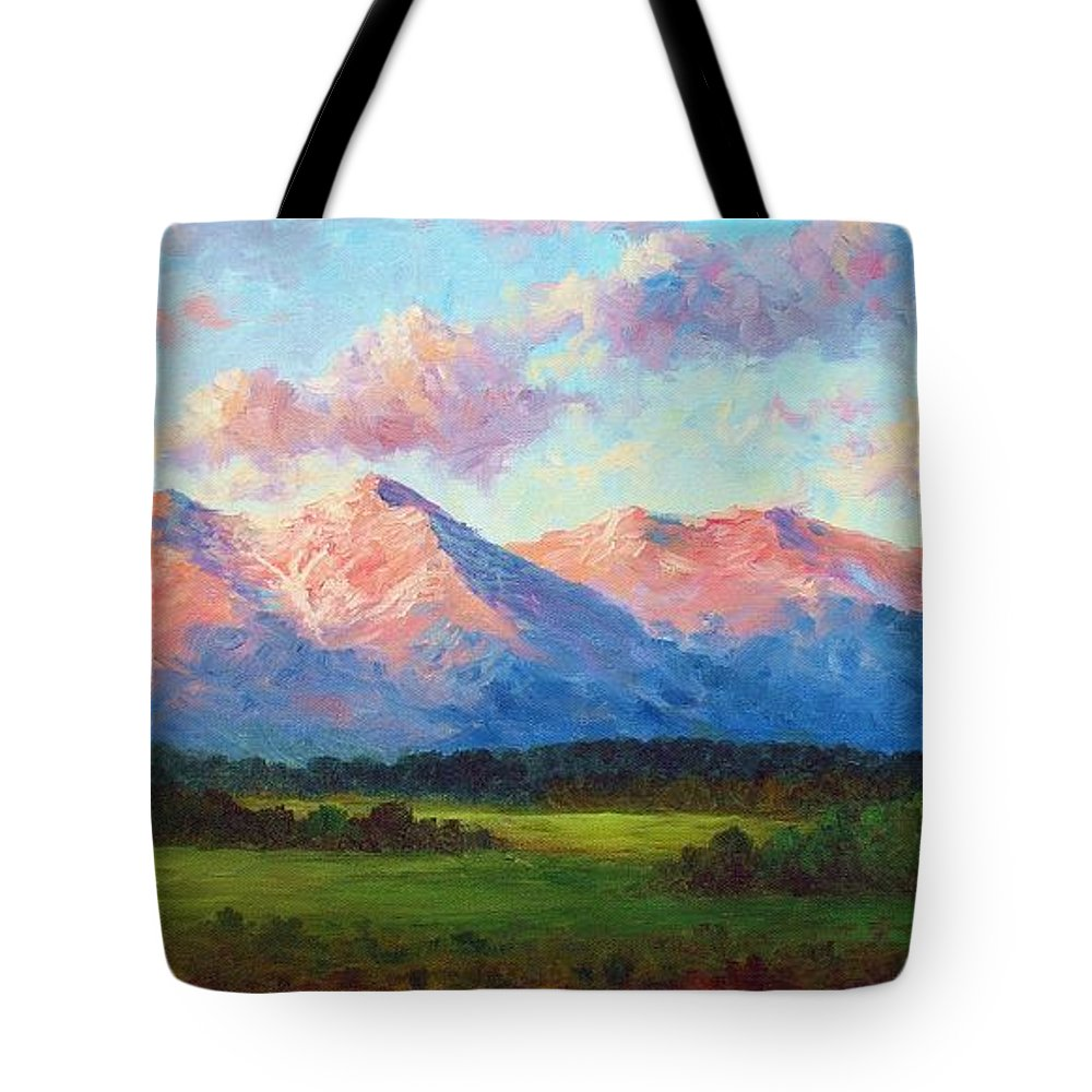 Landscape Tote Bag featuring the painting Morning Light On Mount Shavano by David G Paul