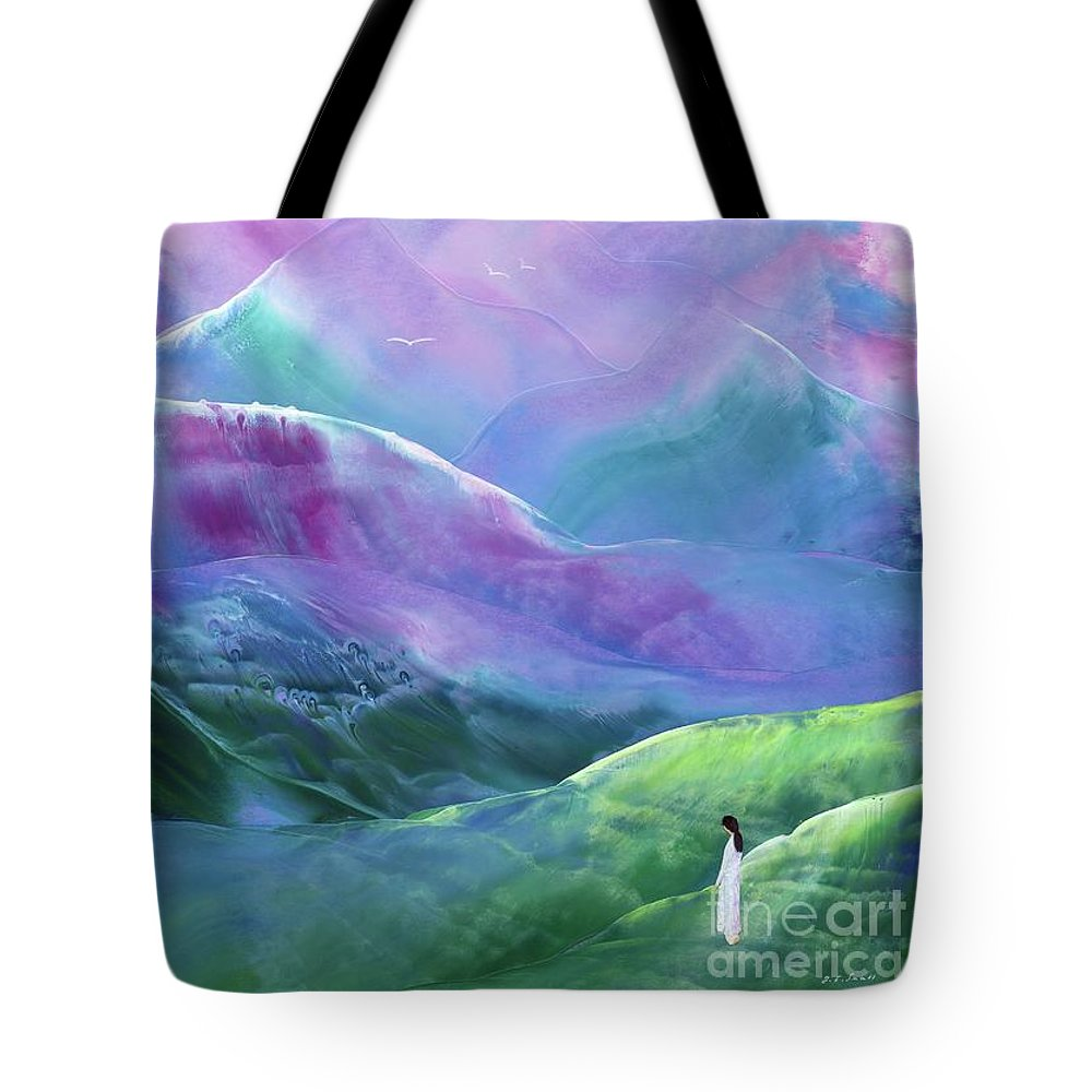 Abstract Tote Bag featuring the painting Morning Serenity by Jane Small