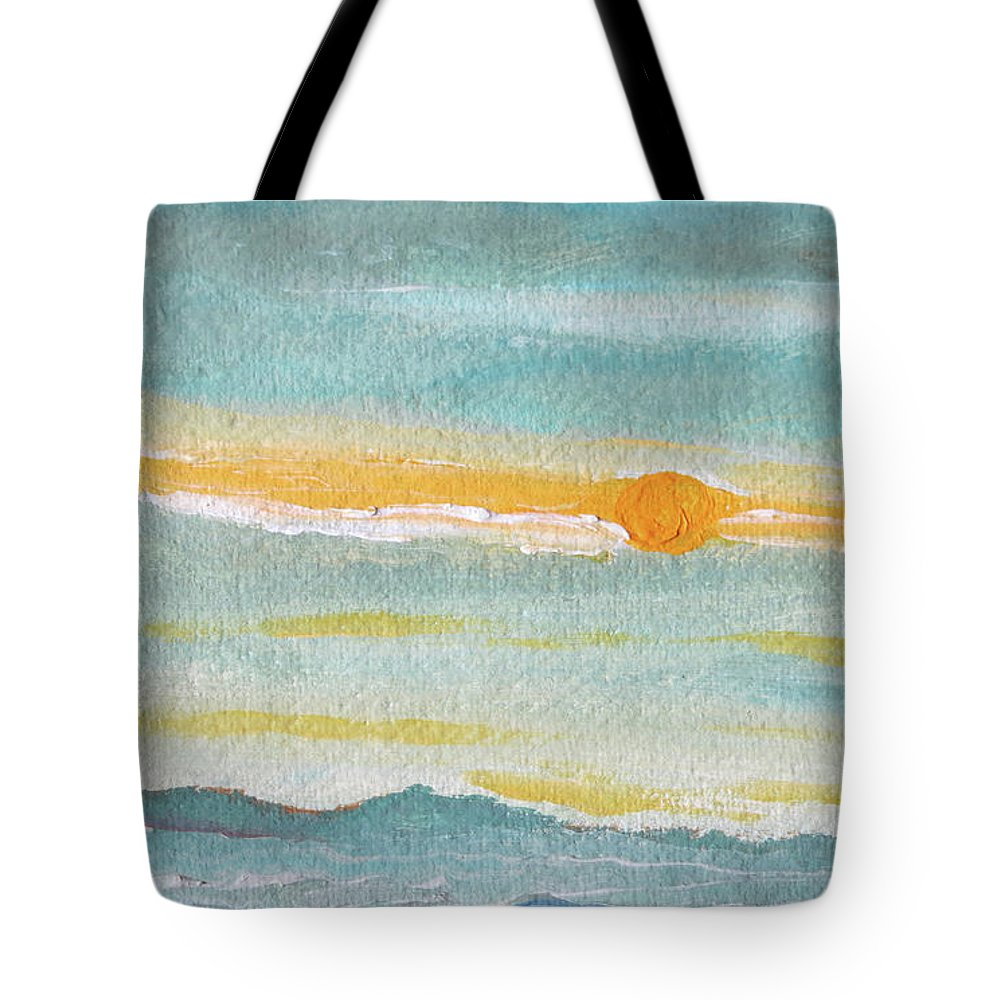 Sky Tote Bag featuring the painting Morning Sky in Winter by Caroline Cunningham
