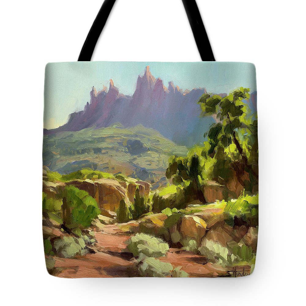 Zion Tote Bag featuring the painting Mountain of Spires by Steve Henderson