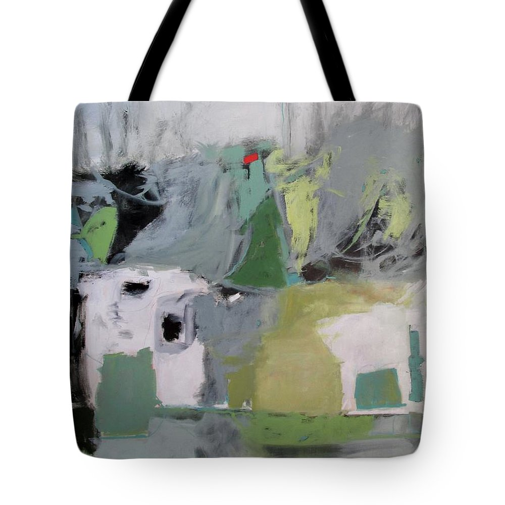 Mountain Town Tote Bag featuring the painting Mountain Town by Chris Gholson