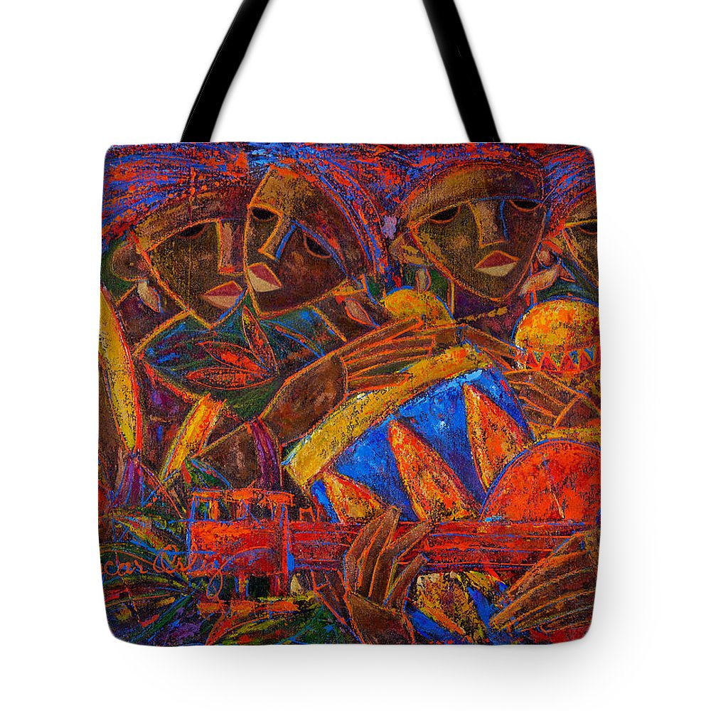 Puerto Rico Tote Bag featuring the painting Musas Del Caribe by Oscar Ortiz