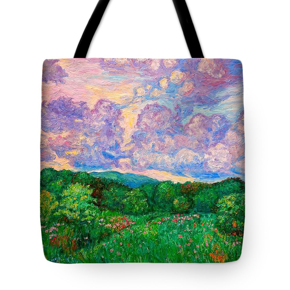 Landscape Tote Bag featuring the painting Mushroom Clouds by Kendall Kessler