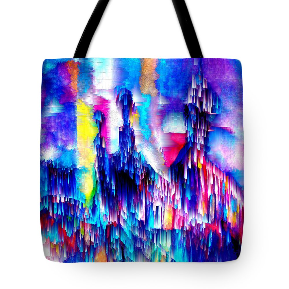 City Lights Tote Bag featuring the mixed media Music of the City by Seth Weaver