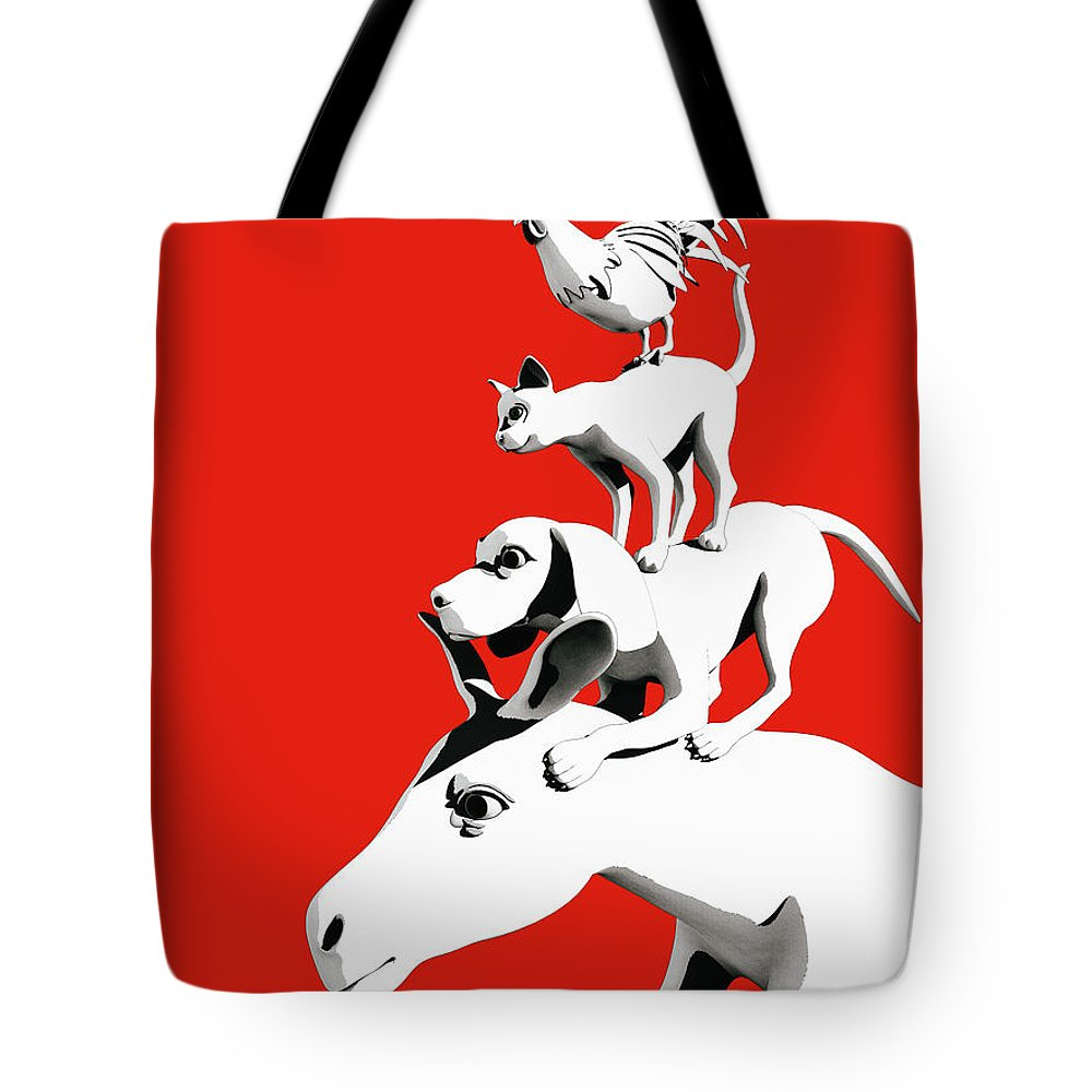 Donkey Tote Bag featuring the digital art Musicians of Bremen_red by Heike Remy