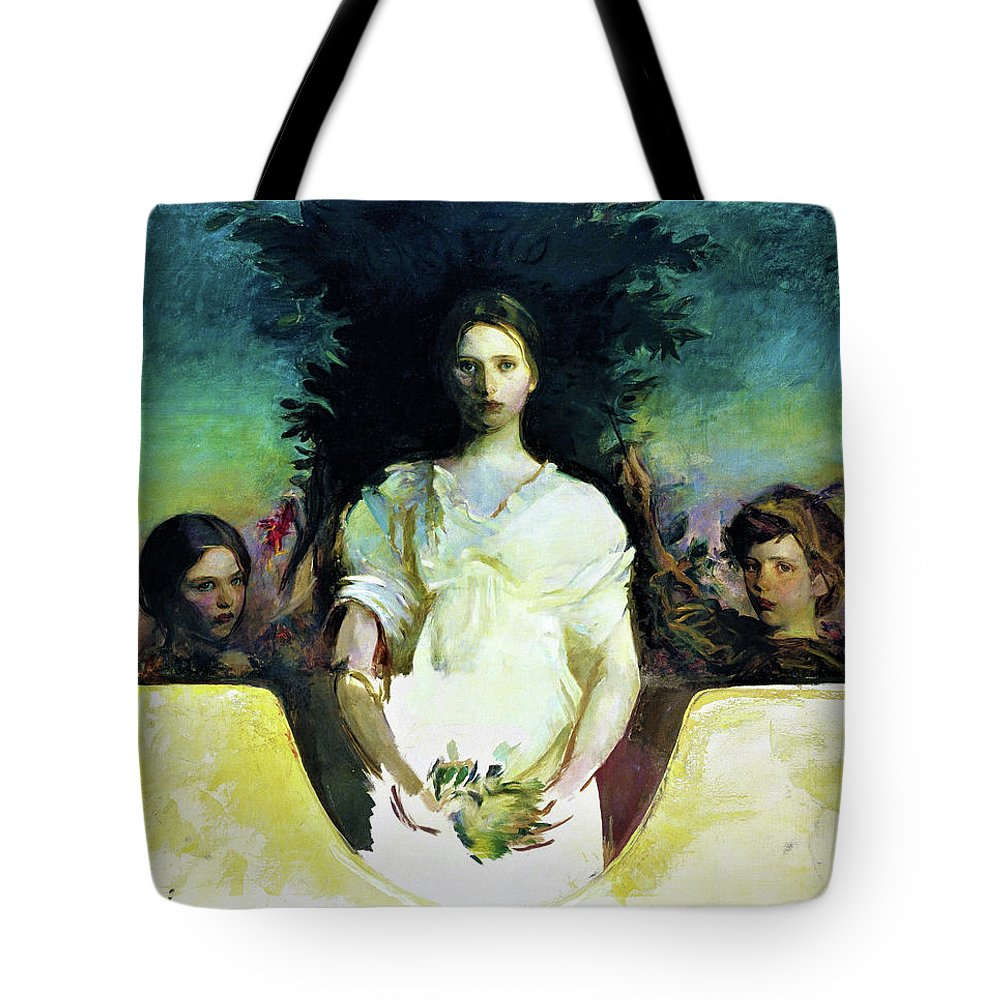 My Children Tote Bag featuring the painting My Children - Digital Remastered Edition by Abbott Handerson Thayer