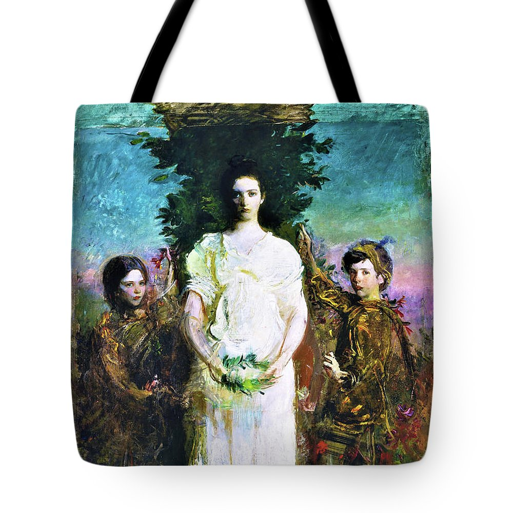 My Children Tote Bag featuring the painting My Children - Mary, Gerald, And Gladys Thayer - Digital Remastered Edition by Abbott Handerson Thayer