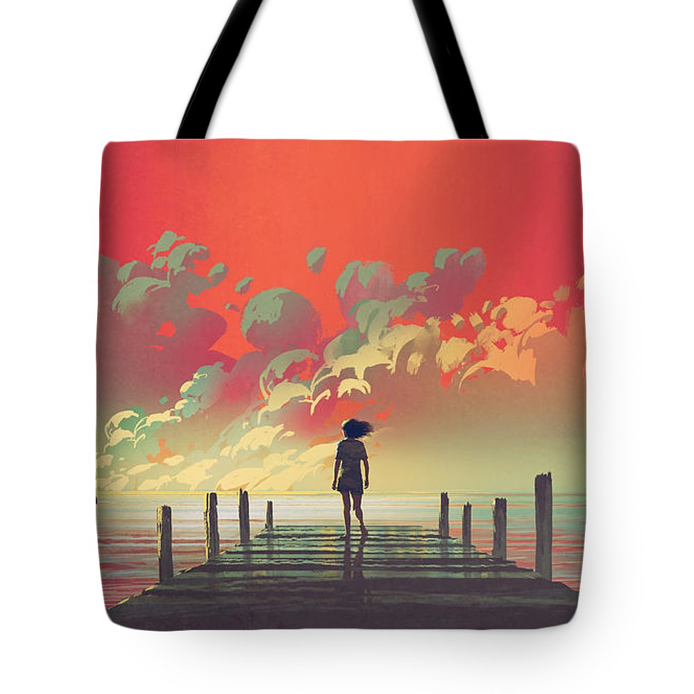 Illustration Tote Bag featuring the painting My Dream Place by Tithi Luadthong