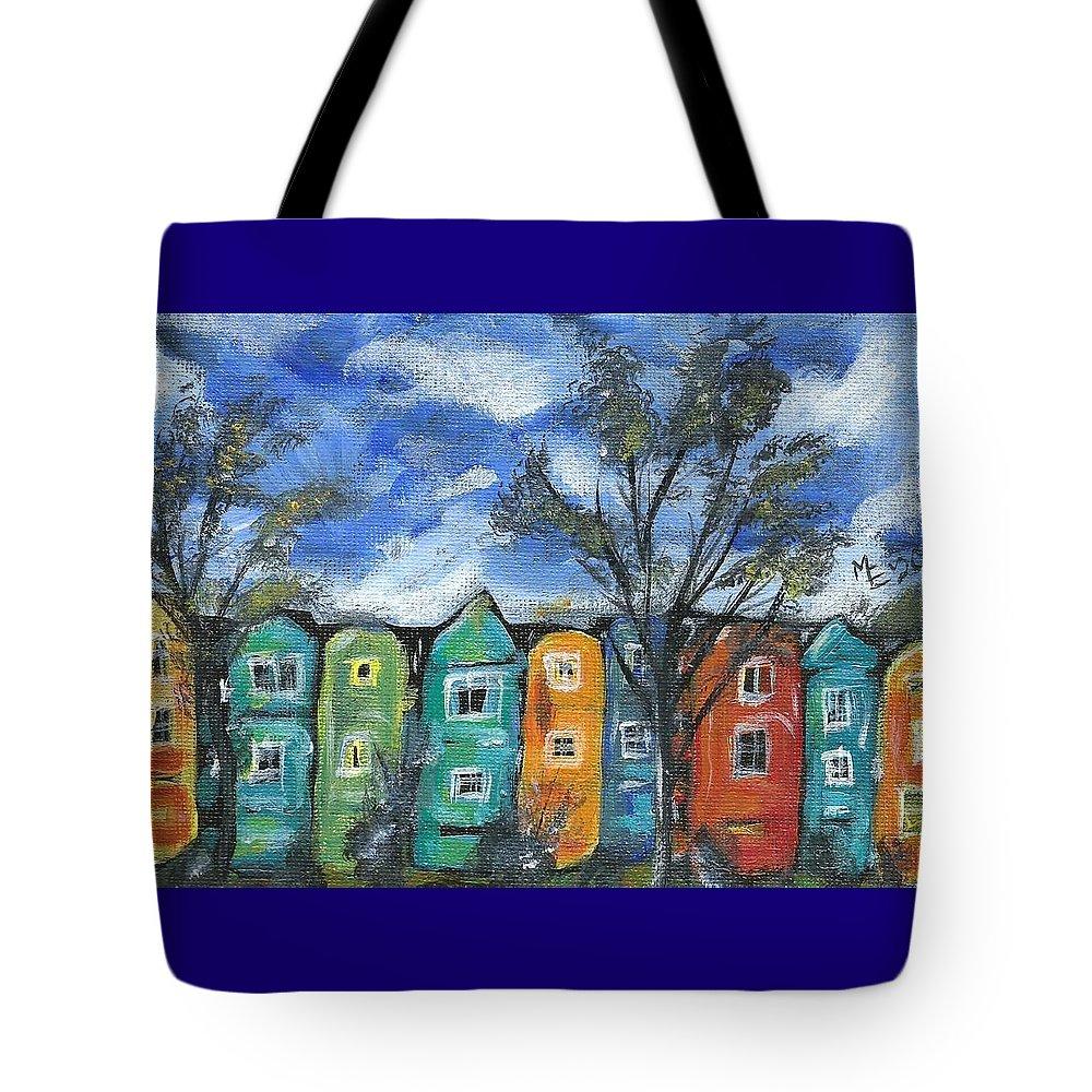 Neighborhood Painting Tote Bag featuring the painting Neighborhood by Monica Resinger
