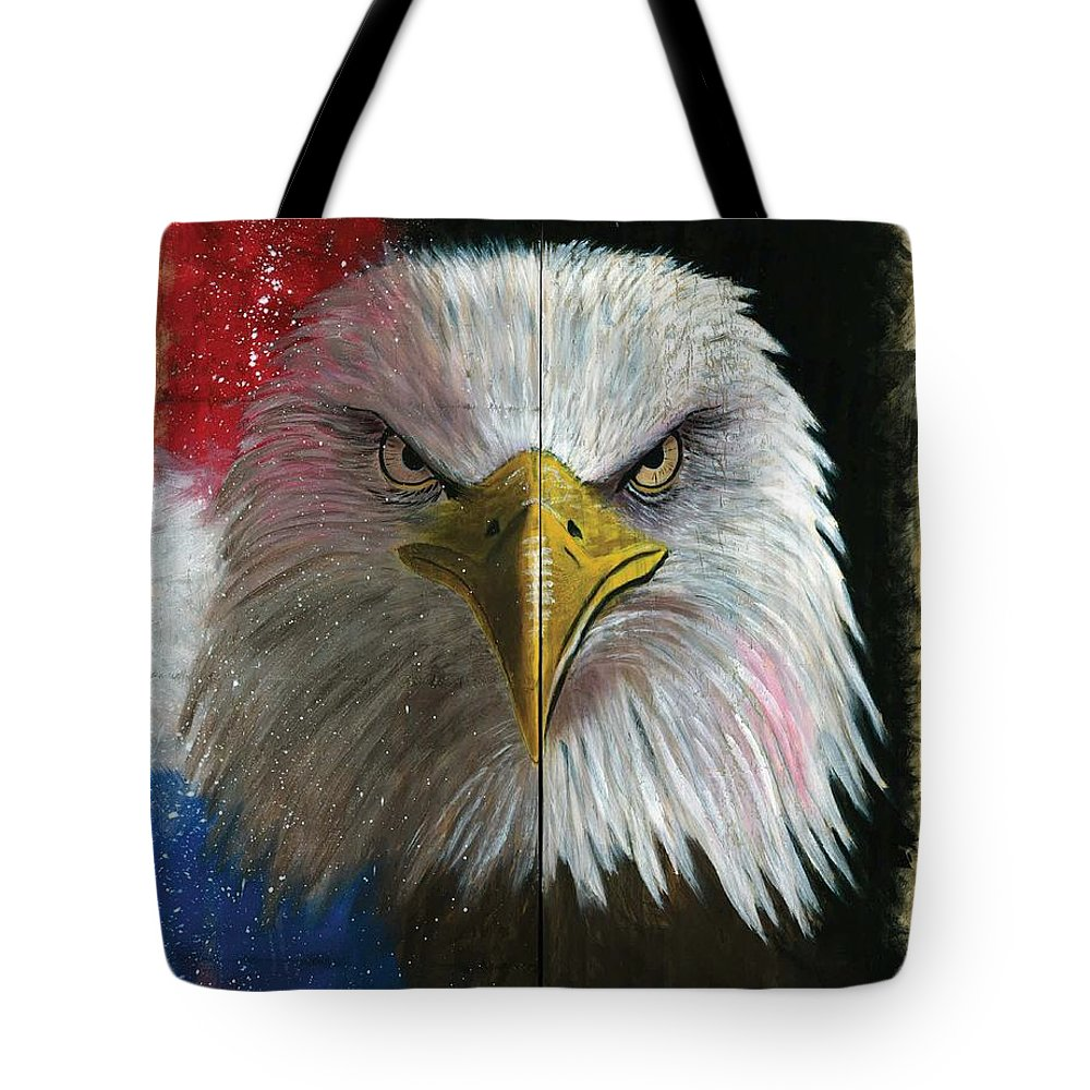 American Eagle Art Tote Bag featuring the painting Never Forget by Chris Naggy