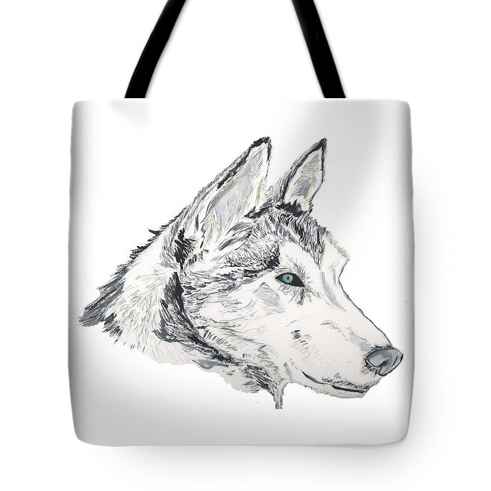 Wolf Tote Bag featuring the painting Noble Soul by Crystal Hubbard