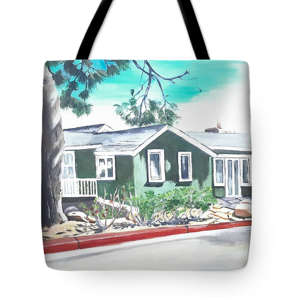 Landscape Tote Bag featuring the painting Ocean Front House by Andrew Johnson