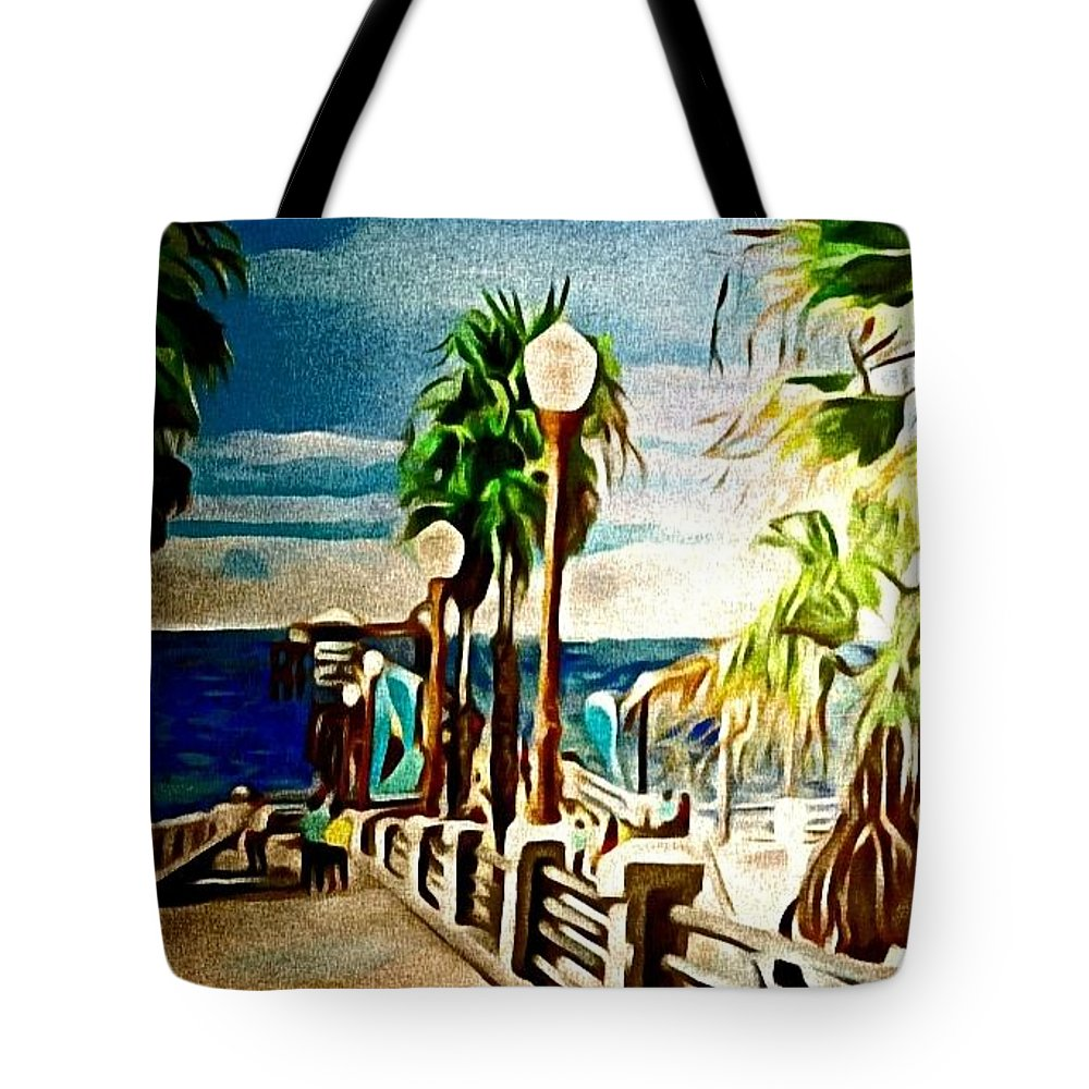 Landscape Tote Bag featuring the painting Oceanside Peir by Andrew Johnson