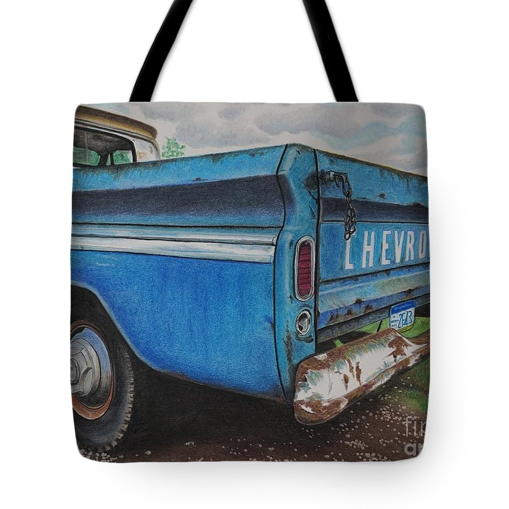 Wall Art Tote Bag featuring the pastel Old Blue by Chris Naggy