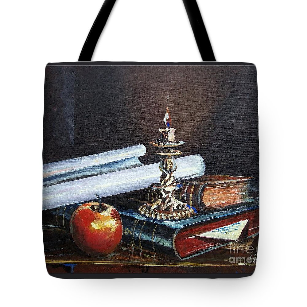 Original Painting Tote Bag featuring the painting Old Books by Sinisa Saratlic