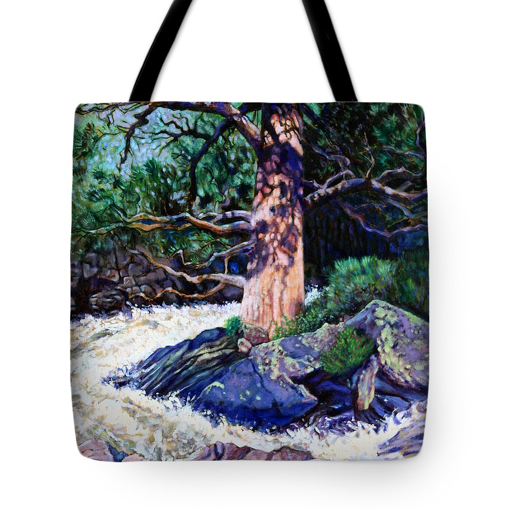 Old Pine Tote Bag featuring the painting Old Pine In Rushing Stream by John Lautermilch