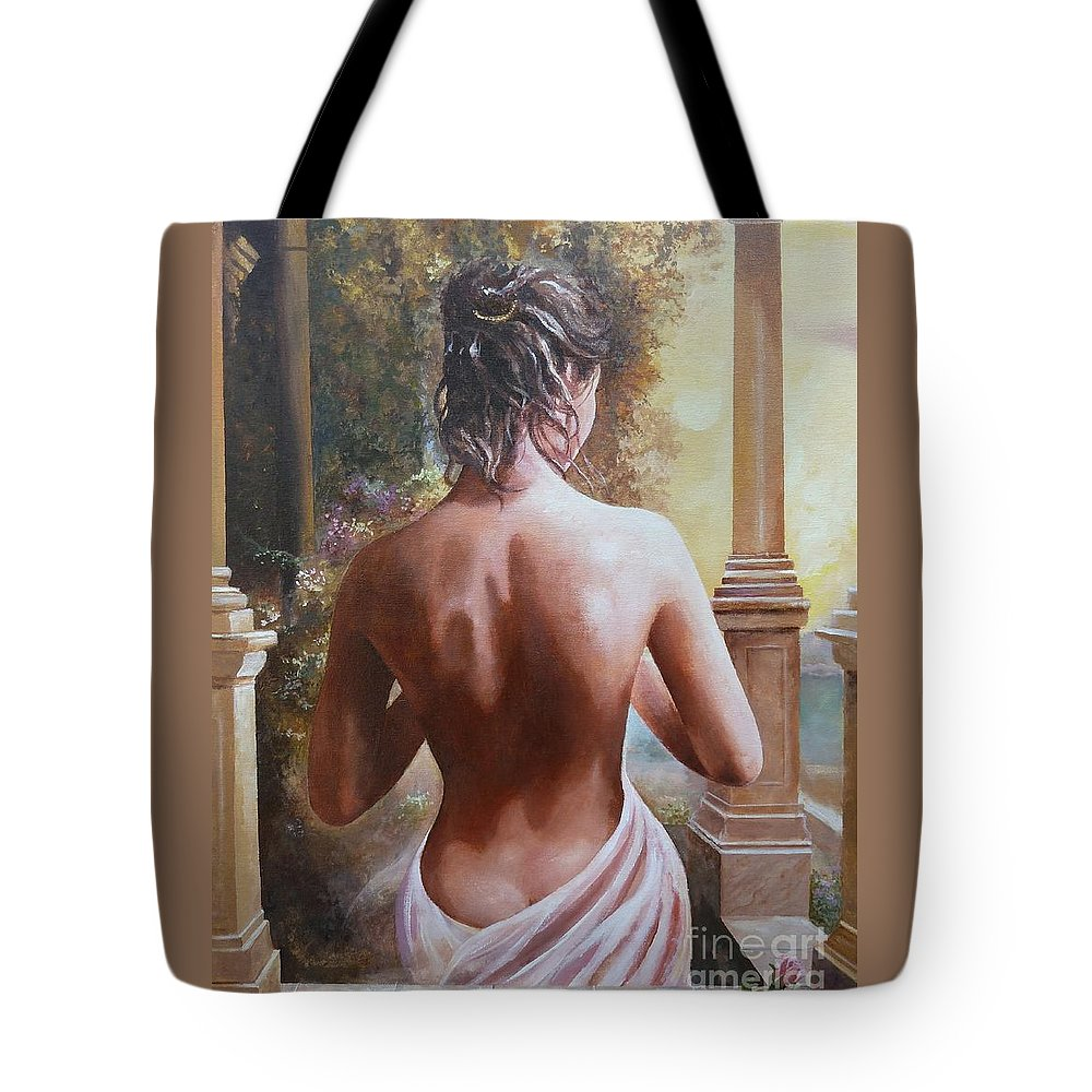 Female Figure Tote Bag featuring the painting On The Doorway by Sinisa Saratlic