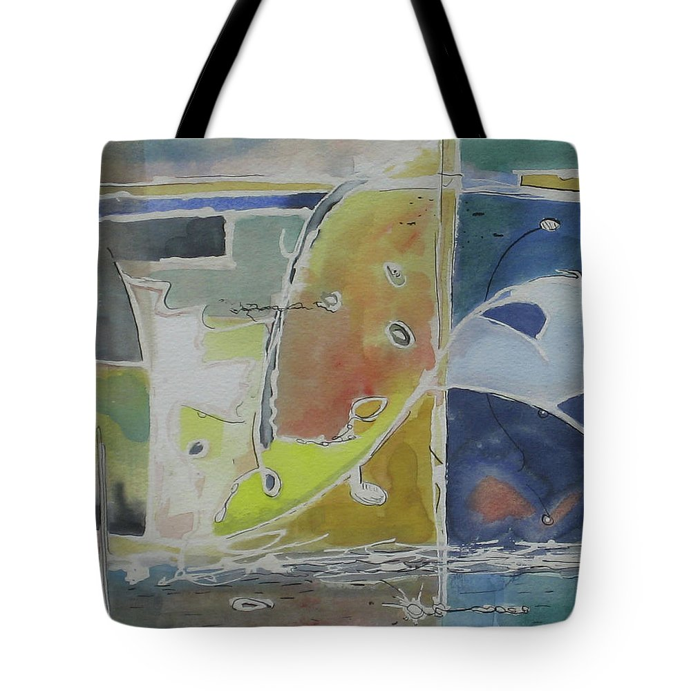 Abstract Tote Bag featuring the painting On the Waterfront - Watercolor 10x9 by Doug Jerving