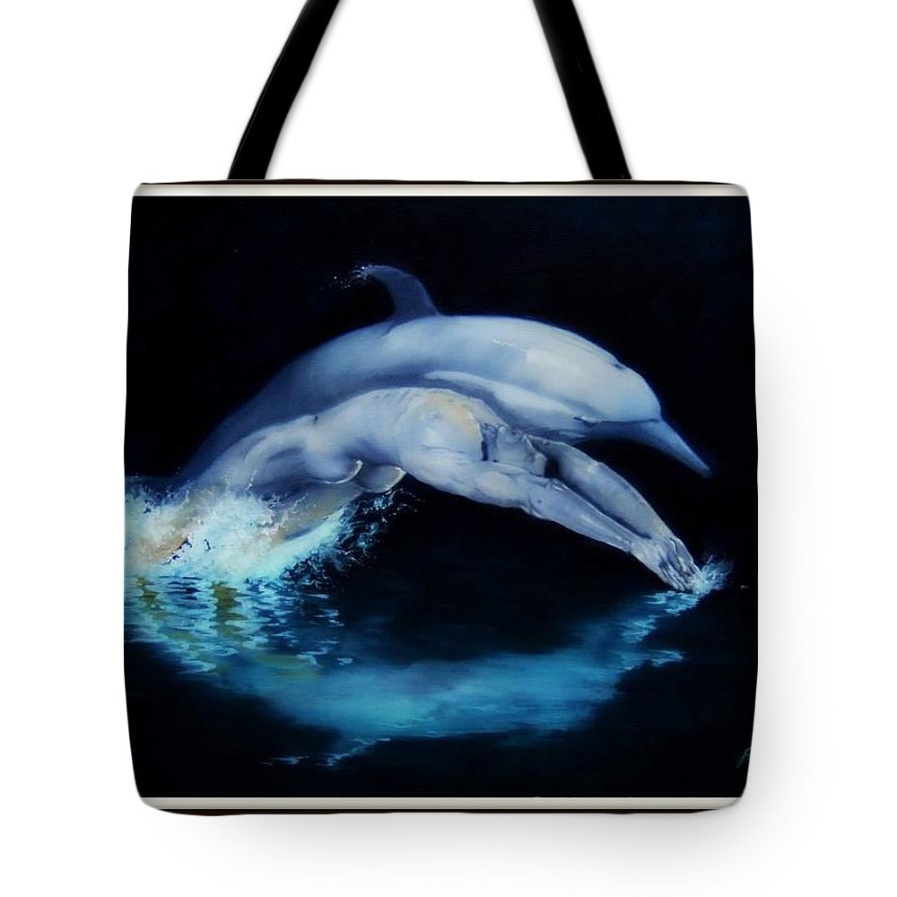 Surreal Tote Bag featuring the painting Origins by Jane Simpson