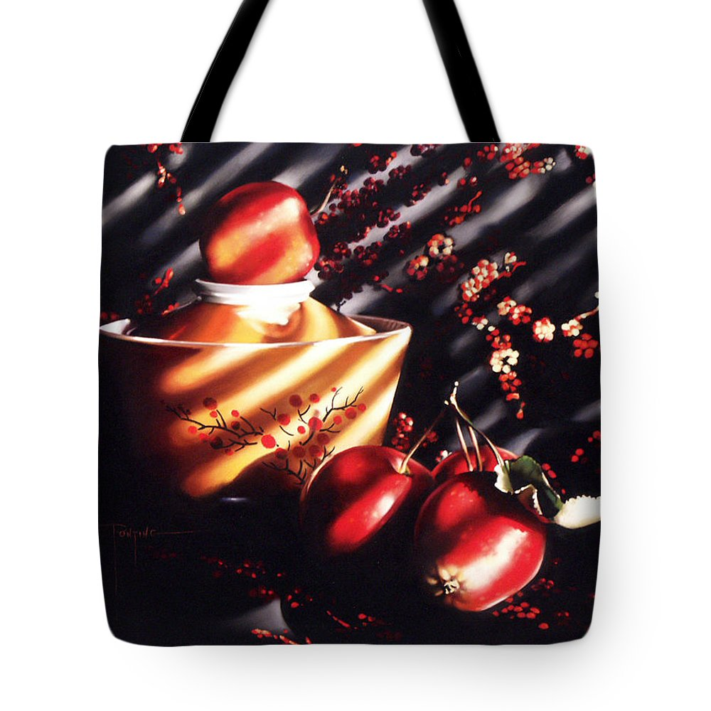 Oriental Tote Bag featuring the pastel Ornamental Crabapples by Dianna Ponting