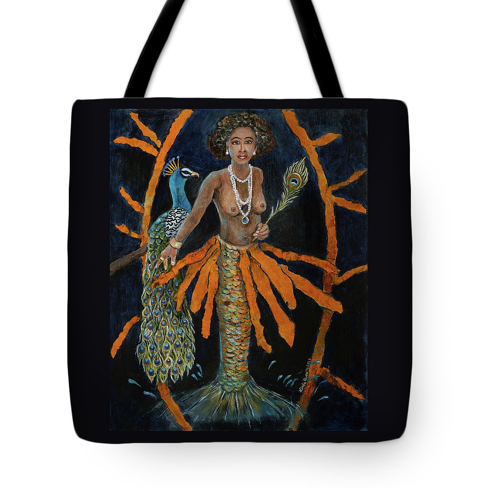 Oshun Tote Bag featuring the painting Oshun by Linda Queally