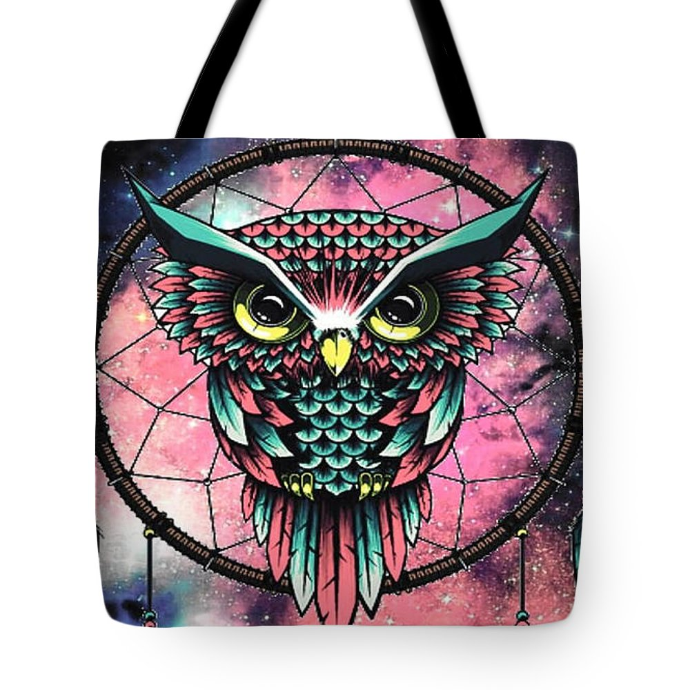 Dreamcatcher Tote Bag featuring the digital art Owl dreamcatcher by Mopssy Stopsy