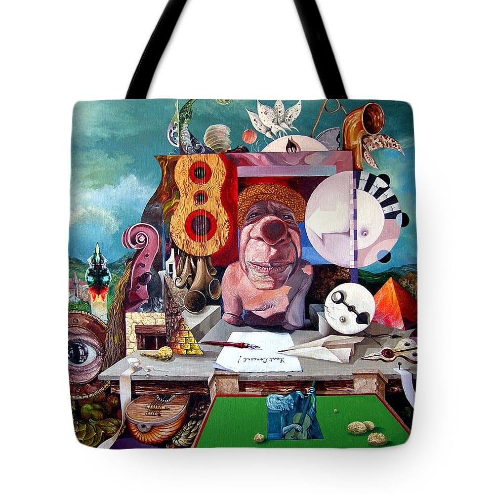 Surrealism Tote Bag featuring the painting Pablos Last Concert by Otto Rapp