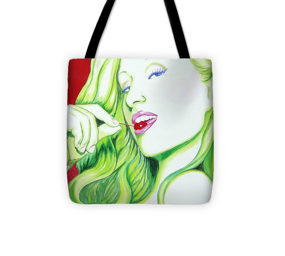 Paris Tote Bag featuring the painting Paris and the Cherry by Holly Picano
