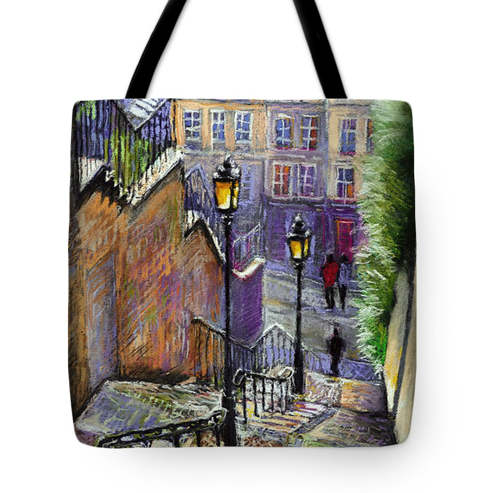 Cityscape Tote Bag featuring the painting Paris Montmartre Steps by Yuriy Shevchuk