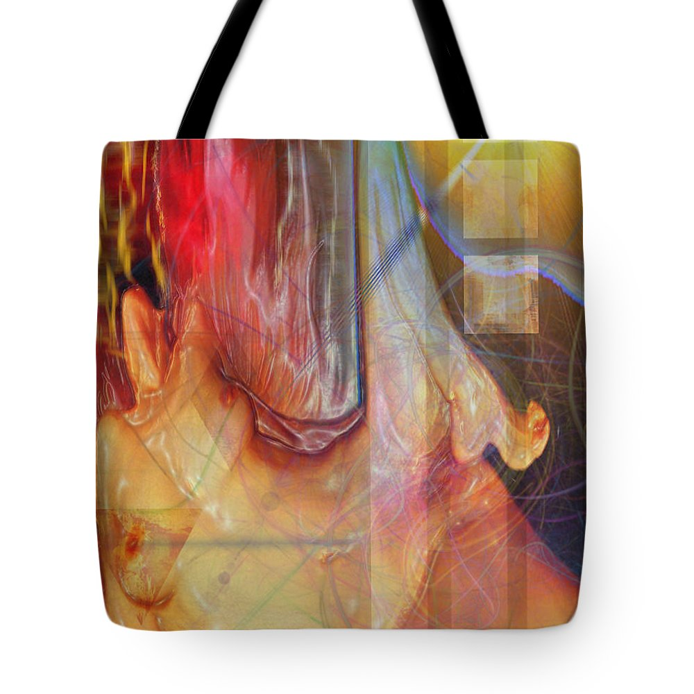 Passion Play Tote Bag featuring the digital art Passion Play by John Robert Beck
