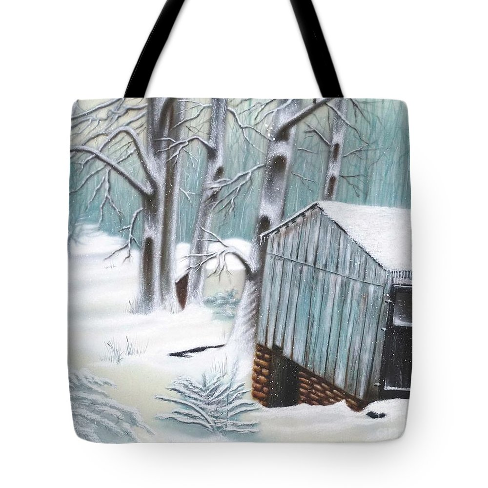 Wall Art Tote Bag featuring the mixed media Peaceful Morn by Chris Naggy