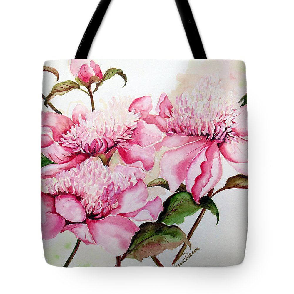 Flower Painting Flora Painting Pink Peonies Painting Botanical Painting Flower Painting Pink Painting Greeting Card Painting Pink Peonies Tote Bag featuring the painting Peonies by Karin Dawn Kelshall- Best